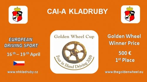 1200 EURO for the Golden Wheel CUP Winner 2010 CAI-A Kladruby Stud nad Labem is an Golden Wheel CUP Partner for TEAM Driving 2009, 500 EURO for the Winner of Golden Wheel CUP 2009